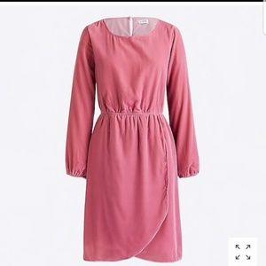 NWT J. Crew - Pink Velvet Tulip Long Sleeve Dress